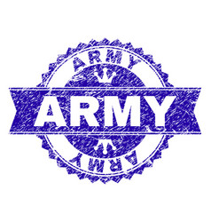 Grunge textured army stamp seal with ribbon vector