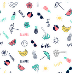hand drawing summer icons seamless vector image