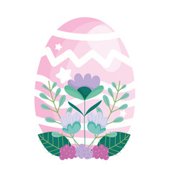 happy easter pink egg decoration and flowers vector image