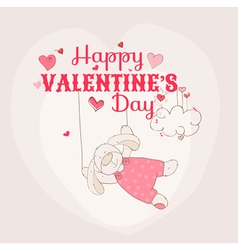 Happy Valentines Day Card - Bunny Theme vector image