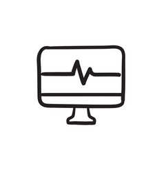 Heart beat monitor sketch icon vector