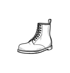 hiking boot hand drawn outline doodle icon vector image