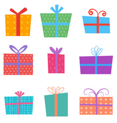 holiday gifts icons and present boxes in cartoon vector image