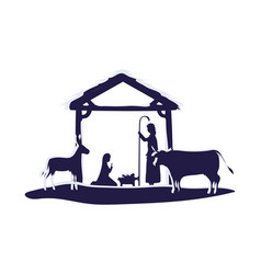 Holy family in stable with animals manger vector