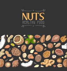 horizontal seamless background with colored nuts vector image
