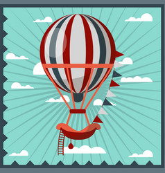Hot air balloon retro poster vector