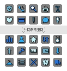 Icon set e-Commerce flat design shopping symbols vector