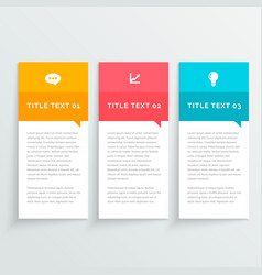 Infographic colorful design with three options vector