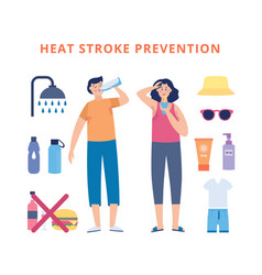 Information banner for preventing heat stroke flat vector