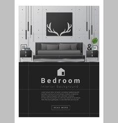 Interior design Modern bedroom banner 8 vector image