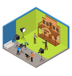 interior television studio isometric view vector image