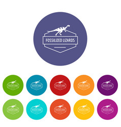 jurassic lizard icons set color vector image