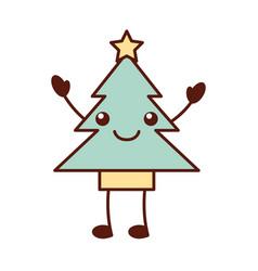 kawaii tree pine star decoration cartoon vector image