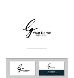 L g lg initial logo signature handwriting vector