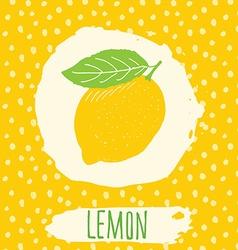 Lemon hand drawn sketched fruit with leaf on vector