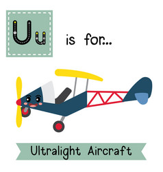 Letter u tracing ultralight aircraft vector