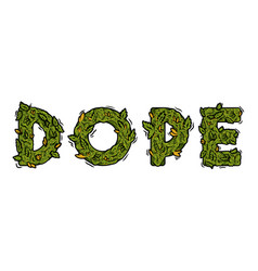 Lettering design weed inscription dope vector