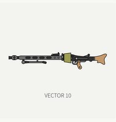 Line flat color military icon - machine gun vector
