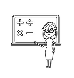 line woman teacher teaching to the student in the vector image