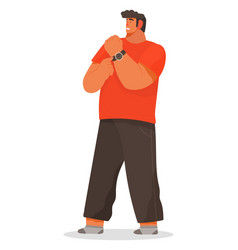 Man pointing on wristwatch late character vector