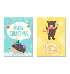 merry christmas wishes from hedgehog bear candy vector image