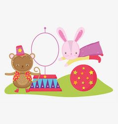 Monkey and rabbit costume in the ball jumping hoop vector