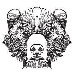 Muzzle bear for creating sketches of tattoos vector