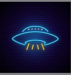 Neon ufo signboard bright glowing flying saucer vector