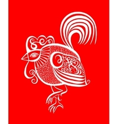 Original red line art rooster calligraphy drawing vector