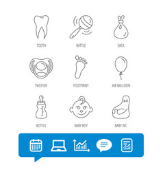 pacifier baby boy and bottle icons tooth sign vector image