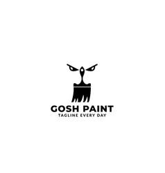 Paint brush with eyes logo design modern vector
