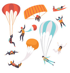 Paratroopers descending with parachutes set vector