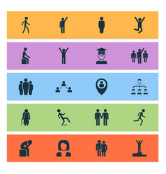 person icons set with rejoicing depression human vector image