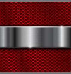 Red metal perforated background with stainless vector