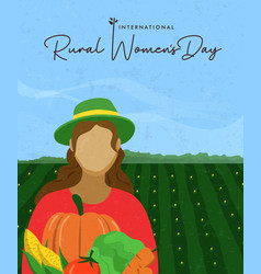 Rural womens day card woman with farm vegetables vector