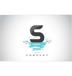 S letter logo design with water splash ripples vector