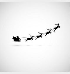 santa on a sleigh with reindeers fly up vector image