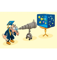 Scientist with telescope vector