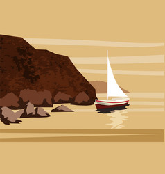 seascape sea ocean rocks stones sailfish vector image