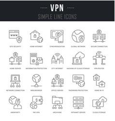 Set line icons vpn vector