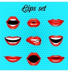Set of red kissing and smiling cartoon mouth vector image