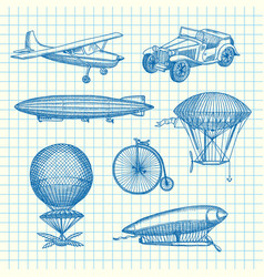 set of steampunk hand drawn dirigibles vector image