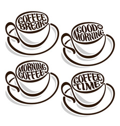 set outline coffee cups vector image