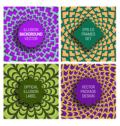 set various frames on optical illusion vector image
