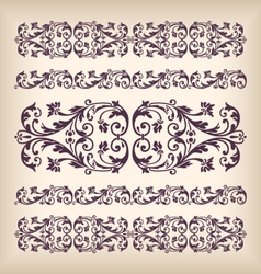 set vintage ornate border frame with retro vector image