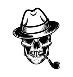 skull with hat and smoking pipe design element vector image