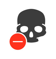 skull with minus colored icon bone structure of vector image