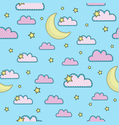 sky cartoon seamless pattern color vector image