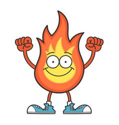 Smiling fireball cartoon character isolated vector