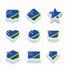 Solomon islands flags icons and button set nine vector